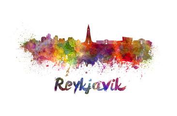 Reykjavik skyline in watercolor