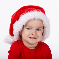 little cute boy with Santa hat