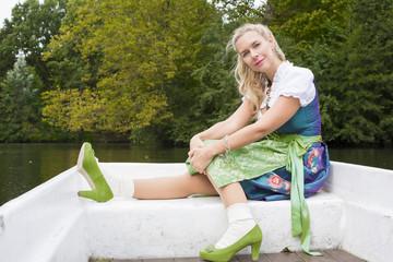 blonde woman in dirndl