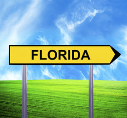 Conceptual arrow sign against beautiful landscape with text - FL