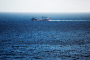 Cargo ship carries swims across the ocean