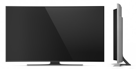 UHD Smart Tv with Curved Screen on White