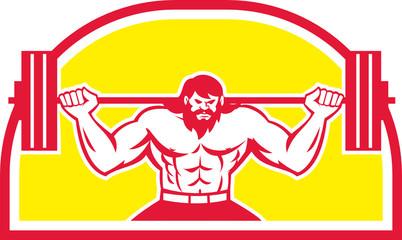 Bodybuilder Lifting Barbell Retro