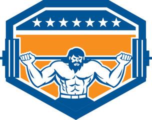 Bodybuilder Lifting Barbell Shield Retro