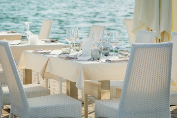 table set on the sea