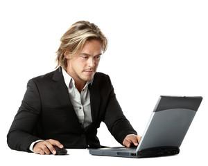 beautiful man behind a laptop computer