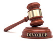 Gavel and DIVORCE text on sound block