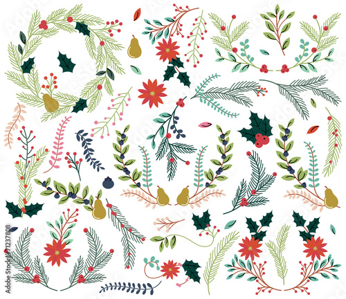 Vector Collection of Vintage Style Hand Drawn Christmas Holiday  - 71237808