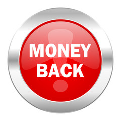 money back red circle chrome web icon isolated