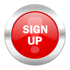 sign up red circle chrome web icon isolated