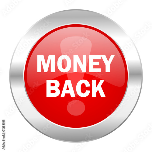 canvas print picture money back red circle chrome web icon isolated