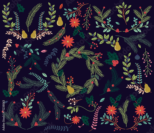 Vector Collection of Vintage Style Hand Drawn Christmas Holiday  - 71238063