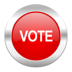 vote red circle chrome web icon isolated