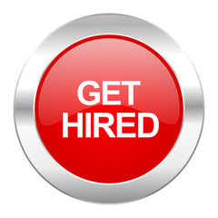 get hired red circle chrome web icon isolated