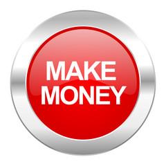 make money red circle chrome web icon isolated