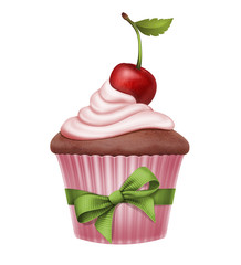 cherry cupcake with ribbon bow, illustration