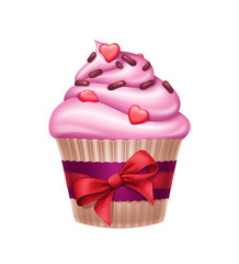 lovely Valentine's day holiday cupcake illustration