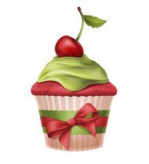 cherry holiday cupcake with ribbon bow illustration