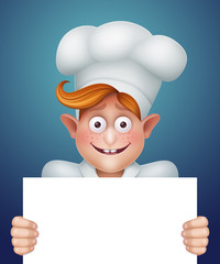 happy cook boy holding white banner illustration