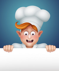 happy young cook in uniform illustration, blank banner