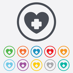 Medical heart sign icon. Cross symbol.