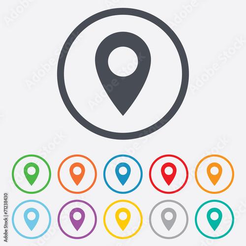 Map pointer icon. GPS location symbol. - 71238430