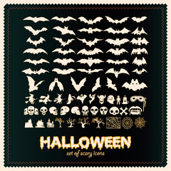 set of sinister silhouettes of bats for halloween