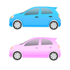 small cars on a white background