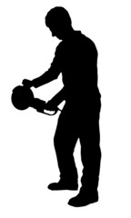 Cutting man with angle grinder silhouette on white