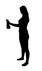 Cleaning woman silhouette on white