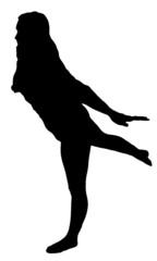 Balancing girl black silhouette on white