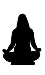 Meditation girl black silhouette on white