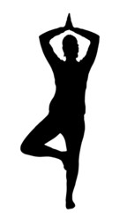 Relax yoga girl black silhouette on white