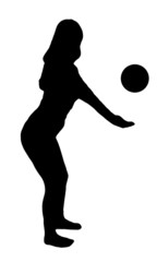 Sport girl with ball black silhouette on white