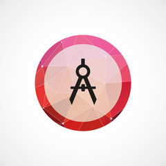 compasses circle pink triangle background icon.