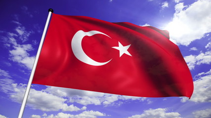 flag of Turkey with fabric structure against a cloudy sky