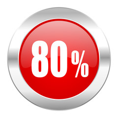 80 percent red circle chrome web icon isolated