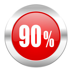 90 percent red circle chrome web icon isolated