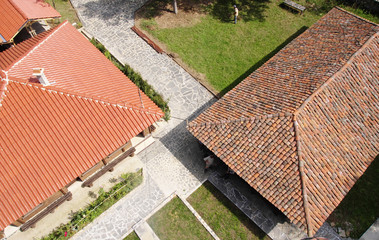Old and news roof with colorful ceramic tiles