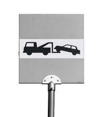 Evacuation on tow truck. Road sign isolated on white background