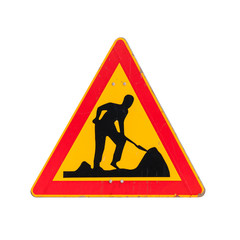 Roadworks, under construction, men at works. Road sign isolated