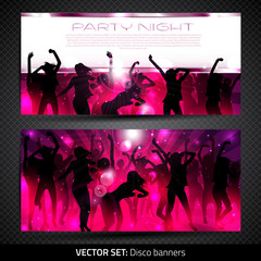 Banner set with silhouettes of dancing girls