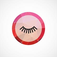 eyelash circle pink triangle background icon.