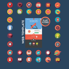 Flat designed web template and icon set