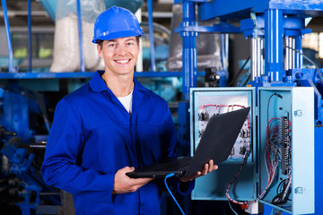 industrial engineer with laptop computer