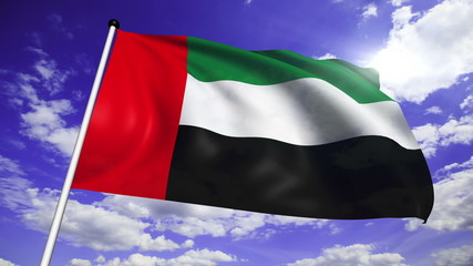 flag of the United Arab Emirates against a cloudy sky