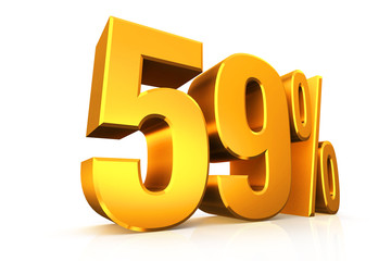 3D render text in 59 percent in gold