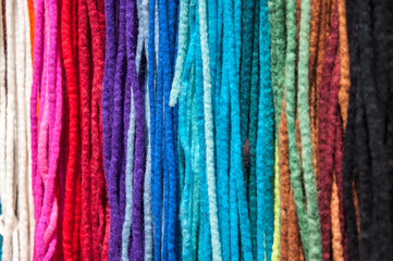 Assorted colorful artificial dreadlocks