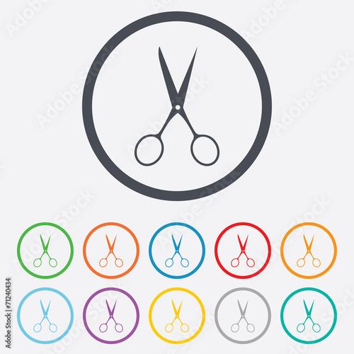 Fototapeta Scissors hairdresser sign icon. Tailor symbol.