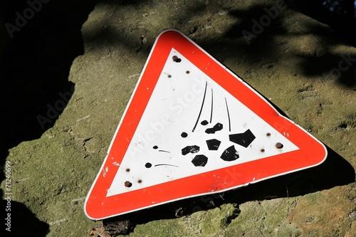 Poster Vorsicht Steinschlag